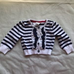 KOALA BABY striped button down sweater with frills